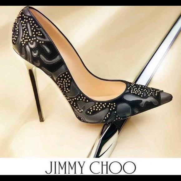 8b362e34b66 Jimmy Choo Shoes - Jimmy Choo Anouk Flocked Black Studded Pumps